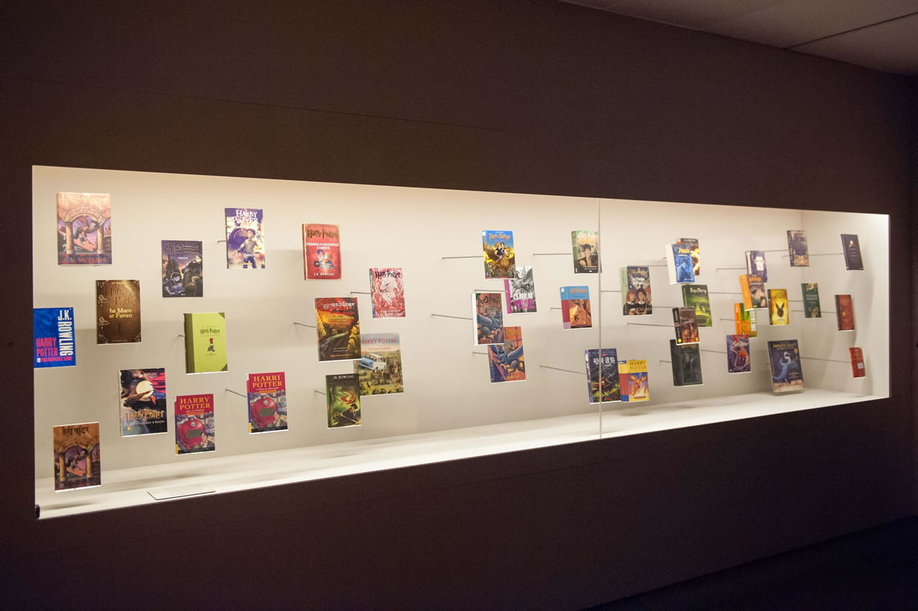 A display of Harry Potter books from the international British Library exhibition Harry Potter: A History of Magic.